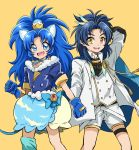 1boy 1girl :d absurdres animal_ears anri_(kuro_89_428) bangs blue_bow blue_eyes blue_gloves blue_hair blue_legwear blue_neckwear blue_shirt blue_skirt bow choker clenched_hand cowboy_shot crossover crown cure_gelato feathers gloves highres jacket kirakira_precure_a_la_mode layered_skirt lion_ears lion_tail long_hair looking_at_viewer magical_girl mini_crown open_mouth parted_bangs precure shirt shorts simple_background single_thighhigh skirt smile standing taikogane_sadamune tail tategami_aoi thigh-highs touken_ranbu white_jacket white_shirt white_shorts white_skirt yellow_background yellow_eyes