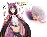 !? 2girls ? bandage bandaged_arm bare_back black_hair breast_rest breasts breasts_on_head brown_hair cloak closed_eyes closed_mouth crying fate/apocrypha fate/grand_order fate_(series) glasses gradient_hair hair_over_shoulder hairband halter_top halterneck hikarikung hood hood_up hooded_cloak hug jack_the_ripper_(fate/apocrypha) long_hair low_twintails mask mask_on_head multicolored_hair multiple_girls open_mouth osakabe-hime_(fate/grand_order) pouch scar scar_across_eye shoulder_tattoo silver_hair speech_bubble spoken_question_mark tattoo twintails very_long_hair violet_eyes wavy_mouth