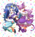 2girls :d animal_ears blue_bow blue_eyes blue_footwear blue_gloves blue_hair blue_legwear blue_neckwear blue_shirt blue_skirt boots bow bubble_skirt cat_ears cat_tail choker crown cure_gelato cure_macaron extra_ears food_themed_hair_ornament full_body gloves hair_ornament high_heel_boots high_heels highres kirakira_precure_a_la_mode kotozume_yukari layered_skirt lion_ears lion_tail long_hair looking_at_viewer macaron_hair_ornament magical_girl mini_crown multiple_girls open_mouth precure purple_bow purple_footwear purple_hair purple_neckwear purple_skirt shirt shoes single_thighhigh skirt smile soulroam star tail tategami_aoi thigh-highs thigh_boots violet_eyes white_background white_gloves white_skirt