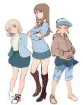 3girls aki_(girls_und_panzer) alternate_eye_color arms_behind_back bangs black_footwear blazer blue_jacket blue_pants blue_skirt blue_sweater boots brown_eyes brown_footwear brown_hair brown_shirt casual closed_mouth collared_shirt cross-laced_footwear crossed_arms eyebrows_visible_through_hair full_body girls_und_panzer glasses hair_down hands_in_pockets high_heel_boots high_heels highres hood hoodie jacket knee_boots light_brown_eyes light_brown_hair light_smile long_hair long_sleeves looking_at_viewer mika_(girls_und_panzer) mikko_(girls_und_panzer) miniskirt mityubi multiple_girls no_hat no_headwear no_legwear pants pants_rolled_up pants_under_skirt parted_lips pleated_skirt red_eyes redhead shirt shoes short_hair short_twintails simple_background sketch skirt sneakers standing sweater sweatshirt track_pants twintails under-rim_eyewear v-neck white-framed_eyewear white_background white_footwear white_shirt