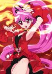 1girl :d aino_megumi arm_up armpits black_neckwear cherry_flamenco choker cowboy_shot cure_lovely dancing dengeki_gx detached_sleeves dress earrings fire flower hair_flower hair_ornament happinesscharge_precure! heart heart_earrings jewelry long_hair looking_at_viewer magical_girl open_mouth pink_eyes pink_hair ponytail precure red_background red_dress simple_background smile solo