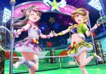 2girls artist_request bangs boots bow breasts brown_hair collarbone copyright_name fireworks flag frilled_skirt frills garter_straps hair_bow hand_holding headset holding koizumi_hanayo long_hair looking_at_viewer love_live! love_live!_school_idol_project medium_breasts midriff minami_kotori multiple_girls navel night night_sky official_art one_eye_closed one_side_up open_mouth outdoors pleated_skirt puffy_short_sleeves puffy_sleeves racket short_hair short_sleeves skirt sky smile star_tattoo striped tattoo tennis_court tennis_net tennis_racket violet_eyes visor_cap