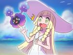 /\/\/\ 1girl absurdres bangs bare_arms bare_shoulders beach blonde_hair blue_sky blunt_bangs blurry braid collarbone collared_dress cosmog day depth_of_field dress eyebrows eyelashes flat_chest green_eyes hat highres legendary_pokemon lillie_(pokemon) long_hair mushiki_k ocean open_mouth outdoors palms pokemon pokemon_(creature) pokemon_(game) pokemon_sm sand sky sleeveless sleeveless_dress solo sparkle straight_hair sun_hat sundress surprised sweatdrop tareme tongue twin_braids water wavy_mouth white_dress white_hat wingull
