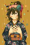 1girl :p alternate_costume alternate_hairstyle asui_tsuyu black_eyes black_hair boku_no_hero_academia flower hair_ornament hair_up hands_on_own_chest highres japanese_clothes kanzashi kimono multicolored multicolored_nail_polish nail_polish nanaminn orange_background solo tongue tongue_out twitter_username umbrella
