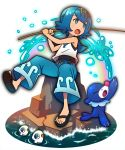 1girl :o bare_shoulders black_footwear black_swimsuit blue_eyes blue_hair blue_pants bright_pupils crop_top eyebrows eyebrows_visible_through_hair fishing_rod flat_chest holding holding_fishing_rod mushiki_k one-piece_swimsuit open_mouth pants pokemon pokemon_(creature) pokemon_(game) pokemon_sm popplio rainbow ribbon ribbon-trimmed_clothes ribbon_trim rock sailor_collar sandals shirt short_hair sitting sleeveless sleeveless_shirt solo suiren_(pokemon) swimsuit swimsuit_under_clothes tongue trial_captain water white_pupils white_shirt wishiwashi yellow_hairband yellow_ribbon