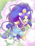 1girl :d animal_ears blue_bow blue_eyes blue_footwear blue_gloves blue_hair blue_legwear blue_shirt blue_skirt bow clenched_hand crown cure_gelato earrings extra_ears full_body gloves jewelry kirakira_precure_a_la_mode koyashi24 layered_skirt lion_ears lion_tail long_hair looking_at_viewer magical_girl mini_crown open_mouth outstretched_hand precure shirt shoes single_thighhigh skirt smile solo tail tategami_aoi thigh-highs white_skirt