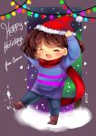 1girl =_= brown_hair camiiie christmas christmas_lights deviantart frisk_(undertale) open_mouth santa_hat scarf short_hair snow striped_shirt undertale