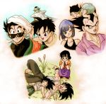 3girls 6+boys :d ;) annoyed baby back_turned black_eyes black_hair black_shirt blue_eyes blue_hair bracelet bulma cape chi-chi_(dragon_ball) chinese_clothes diaper dragon_ball dragonball_z frown jewelry looking_at_another looking_up masa_(p-piyo) multiple_boys multiple_girls nervous nib_pen_(medium) one_eye_closed open_mouth piccolo pink_shirt pointy_ears shirt short_hair simple_background sleeping sleeping_on_person smile son_gohan son_gokuu son_goten sunglasses sweatdrop traditional_media trunks_(dragon_ball) turban vegeta videl white_background