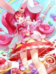 1girl animal_ears bow cake cake_hair_ornament candy caperata_(towahuyu) cropped_legs cure_whip doughnut dress food food_themed_hair_ornament gloves hair_ornament highres holding holding_wand kirakira_precure_a_la_mode layered_dress long_hair looking_at_viewer macaron magical_girl pink_bow pink_footwear pink_hair precure puffy_sleeves rabbit_ears rainbow red_eyes shoes smile solo standing standing_on_one_leg swiss_roll twintails usami_ichika wand white_gloves