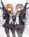 2girls :3 belt belt_pouch brown_eyes brown_hair cowboy_shot dress_shirt exoskeleton eyes fingerless_gloves girls_frontline gloves gun h&k_ump hair_between_eyes hair_ornament hair_tie hairclip heckler_&_koch jacket knee_pads kws long_hair looking_at_viewer multiple_girls one_side_up outdoors pantyhose pouch scar scar_across_eye scarf shirt sidelocks signature skirt smile snow submachine_gun suppressor tied_hair trigger_discipline tsurime twintails ump45_(girls_frontline) ump9_(girls_frontline) weapon yellow