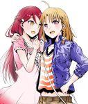 2girls ahoge blue_jacket brown_hair collarbone cowboy_shot eyes hair_ornament hair_ribbon hand_on_another's_shoulder hand_on_hip highres jacket jewelry long_hair love_live! love_live!_sunshine!! multiple_girls necklace open_clothes open_jacket open_mouth red_eyes redhead ribbon ririi_(aki_ao0915) sakurauchi_riko shirt simple_background sketch striped striped_shirt takami_chika very_long_hair white_background white_ribbon yellow_eyes
