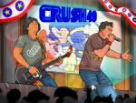 2boys band_name banner black_hair brown_eyes concert crowd crush40 dictionary electric_guitar green_eyes guitar instrument johnny_gioeli logo logo_parody microphone multiple_boys music playing_instrument profanity real_life rock_band senoue_jun silhouette singing sonic sonic_the_hedgehog stage stage_lights