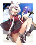 1girl ;d aircraft airplane anchor animal_ears azur_lane bangs black_footwear black_skirt blue_sky blurry blurry_background blush clouds cloudy_sky commentary_request day depth_of_field detached_sleeves eyebrows_visible_through_hair fang flight_deck head_tilt japanese_clothes kimono kneehighs kurogoma_(haruhi3) long_sleeves looking_at_viewer one_eye_closed open_mouth outdoors platform_footwear platform_heels pleated_skirt red_kimono red_skirt shikigami short_hair short_kimono shouhou_(azur_lane) skirt sky smile solo sunlight tabi white_hair white_legwear wide_sleeves zouri