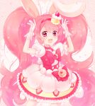 1girl :d animal_ears bow cake_hair_ornament choker cowboy_shot cure_whip dress food_themed_hair_ornament gloves hair_ornament hairband kashitani_futaba kirakira_precure_a_la_mode long_hair looking_at_viewer magical_girl open_mouth pink pink_background pink_bow pink_eyes pink_hair pink_hairband pink_neckwear precure puffy_sleeves rabbit_ears smile solo striped striped_background twintails usami_ichika white_dress white_gloves