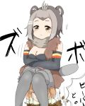 2girls :t american_beaver_(kemono_friends) beaver_ears beaver_tail black-tailed_prairie_dog_(kemono_friends) breasts brown_eyes cleavage commentary_request crossed_arms digging elbow_gloves fur_collar gloves grey_legwear highres kemono_friends kokuin multiple_girls pantyhose pout shorts sitting sitting_on_person sketch translation_request vest white_background