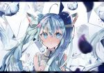 1girl ahoge bangs bare_shoulders blue_eyes blue_hair blue_nails blue_neckwear blurry blurry_foreground closed_mouth colored_eyelashes depth_of_field diamond english expressionless frills grey_shirt hair_between_eyes hair_ornament hatsune_miku letterboxed long_hair nail_polish necktie reflection shatter shiny shiny_hair shirt siho_(ricchil) simple_background solo tareme twintails upper_body vocaloid white_background