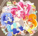 3girls :d animal_ears arisugawa_himari arm_up beamed_quavers blue_eyes blue_footwear blue_gloves blue_hair blue_legwear blue_shirt blue_skirt bow brown_background brown_eyes brown_hair bunny_tail cake_hair_ornament candy cat_ears cat_tail cookie creature crown cupcake cure_custard cure_gelato cure_whip doughnut dress earrings extra_ears food food_themed_hair_ornament gloves hair_ornament hairband highres jewelry kirakira_precure_a_la_mode kneehighs layered_skirt lion_ears lion_tail long_hair macaron magical_girl mini_crown multiple_girls musical_note one_eye_closed open_mouth orange_bow orange_footwear pekorin_(precure) pink_bow pink_footwear pink_hair precure quaver rabbit_ears red_eyes shararan shirt shoes short_hair single_thighhigh skirt smile squirrel_ears squirrel_tail staff_(music) striped striped_background tail tategami_aoi thigh-highs twintails usami_ichika white_gloves yellow_dress yellow_legwear