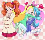 1boy 2girls :p blonde_hair blue_hair boots brother_and_sister brown_hair checkered checkered_background closed_eyes cowboy_shot creature food_themed_hair_ornament green_eyes green_footwear hair_ornament hairband happy hug jacket julio_(precure) kirahoshi_ciel kirakira_precure_a_la_mode knee_boots long_hair masaru_(win800) multiple_girls open_mouth pants pekorin_(precure) pink_eyes pink_hairband pink_skirt precure scarf siblings skirt smile strawberry_hair_ornament tongue tongue_out twintails usami_ichika white_pants