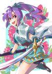 1girl blue_hair fingerless_gloves fir fire_emblem fire_emblem:_fuuin_no_tsurugi floral_background gloves holding holding_sword holding_weapon solo sword weapon