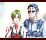 absurdres blue_hair breasts glasses green_hair highres macross macross_7 maki maximilian_jenius millia_jenius