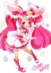 1girl absurdres bow bunny_tail cake_hair_ornament character_name choker cure_whip dress extra_ears food_themed_hair_ornament full_body gloves hair_ornament hairband highres kirakira_precure_a_la_mode long_hair magical_girl pink_bow pink_footwear pink_hair pink_hairband pink_neckwear precure red_eyes shoes simple_background smile solo soraryu_saworu star tail twintails usami_ichika v white_background white_dress white_gloves