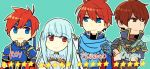 1girl armor bare_shoulders blue_hair cape chibi dress eliwood_(fire_emblem) father_and_son fire_emblem fire_emblem:_fuuin_no_tsurugi fire_emblem:_rekka_no_ken fire_emblem_heroes gloves hair_ornament long_hair looking_at_viewer mamkute mother_and_son ninian raven_(fire_emblem) red_eyes redhead roirence roy_(fire_emblem) short_hair smile
