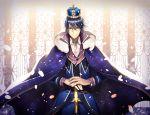 1boy blue_cape blue_hair cape crown floating_hair fur_trim glasses hair_between_eyes highres k_(anime) narukami_yuu noes smile violet_eyes white_neckwear