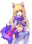 1boy animal_ears blonde_hair blue_eyes blush bow choker crossdressing dangerous_beast elbow_gloves eyebrows_visible_through_hair fate/grand_order fate_(series) fur_trim gloves hair_between_eyes le_chevalier_d'eon_(fate/grand_order) long_hair navel pink_bow purple_gloves purple_legwear simple_background solo tail thigh-highs trap wanko_(takohati8) white_background wolf_ears wolf_tail