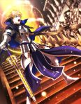 1boy armor armored_boots blonde_hair blue_eyes boots capelet dutch_angle fate/prototype fate_(series) full_body holding holding_sword holding_weapon kata4859 open_mouth saber_(fate/prototype) solo stairs standing sword weapon