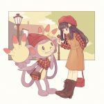 1girl ambipom arm_behind_back bag bangs beanie black_hair blunt_bangs blush boots bright_pupils brown_dress brown_footwear clouds cross-laced_footwear dress eyebrows_visible_through_hair fringe grin hair_ornament hairclip handbag hat hikari_(pokemon) holding_bag knee_boots komasawa_(fmn-ppp) lace-up_boots lamppost long_hair long_sleeves multiple_tails nail_polish outside_border pinafore_dress plaid plaid_shirt pokemon pokemon_(creature) pokemon_(game) pokemon_dppt red_hat red_nails red_scarf red_shirt scarf shirt shoulder_bag sidelocks smile standing tail tareme teeth two_tails violet_eyes white_background yellow_sky
