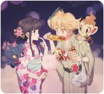 1boy 1girl :o ahoge alternate_costume bag bangs beads black_hair blonde_hair blunt_bangs blush brown_eyes candy_apple chimchar chingling chocolate_banana corn cotton_candy cowboy_shot cup eating eyebrows_visible_through_hair finger_to_mouth floeating floral_print flower food food_theft green_kimono hair_flower hair_ornament hikari_(pokemon) holding holding_cup holding_food japanese_clothes kimono komasawa_(fmn-ppp) long_hair long_sleeves mask mask_on_head misdreavus on_shoulder open_mouth orange_eyes pearl_(pokemon) prayer_beads red_eyes sash shopping_bag sidelocks standing striped tareme vertical_stripes violet_eyes white_kimono wide_sleeves yellow_sclera