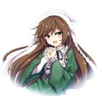 1girl :d bangs black_ribbon blush brown_hair dress eyebrows_visible_through_hair frilled_shirt_collar frilled_sleeves frills green_dress green_eyes hair_between_eyes hands_clasped head_scarf layered_sleeves long_hair long_sleeves looking_at_viewer moeki_yuuta open_mouth own_hands_together red_eyes ribbon rozen_maiden simple_background smile solo suiseiseki tsurime upper_body very_long_hair white_background wide_sleeves