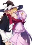 2girls apron black_hat black_skirt blonde_hair bow capelet commentary_request crescent eye_contact from_side hand_holding hat hat_bow highres imminent_kiss kirisame_marisa long_hair long_sleeves looking_at_another mob_cap multiple_girls patchouli_knowledge profile purple_hair purple_hat red_scarf scarf shared_scarf simple_background skirt smile touhou vanilla_(miotanntann) very_long_hair violet_eyes waist_apron white_background white_bow witch_hat yellow_eyes yuri