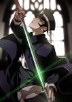 1boy black_hair cape devil_summoner from_side glowing glowing_eyes hat holding holding_sword holding_weapon kamizawa_(sark) kuzunoha_raidou male_focus shin_megami_tensei sideburns solo sword weapon
