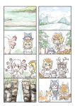 4girls animal animal_ears axolotl_(kemono_friends) comic fox giant_armadillo_(kemono_friends) grey_wolf_(kemono_friends) highres kemono_friends mexico_salamander_(kemono_friends) multiple_girls murakami_rei reindeer_(kemono_friends) silent_comic water waterfall wolf_ears younger