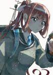 1girl asagumo_(kantai_collection) brown_hair green_eyes headband itomugi-kun kantai_collection long_hair serious solo white_headband