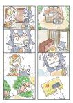 2girls bag comic giant_armadillo_(kemono_friends) grey_wolf_(kemono_friends) highres house kemono_friends magnifying_glass multiple_girls murakami_rei silent_comic younger
