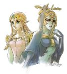 2girls blue_skin breasts jewelry long_hair looking_at_viewer midna midna_(true) multiple_girls orange_hair pointy_ears princess_zelda red_eyes smile spoilers the_legend_of_zelda the_legend_of_zelda:_twilight_princess