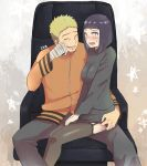 1boy 1girl armchair bandage bandaged_arm bangs blonde_hair blunt_bangs blush bob_cut chair garter_straps husband_and_wife hyuuga_hinata ika_nrhn lavender_eyes naruto no_pupils purple_hair sitting sitting_on_lap sitting_on_person skirt skirt_lift smile spiky_hair sweatdrop thigh-highs uzumaki_naruto