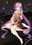 1girl bare_legs barefoot book bookmark brown_skirt buttons city closed_mouth commentary_request fingernails full_body hair_ribbon hand_up headphones headphones_around_neck highres long_hair long_sleeves looking_at_viewer miniskirt musical_note_hair_ornament night night_sky outdoors pink_eyes purple_hair ribbon sitting skirt sky smile solo star_(sky) starry_sky toenails touhou tsukumo_benben twintails very_long_hair vest wristband yetworldview_kaze