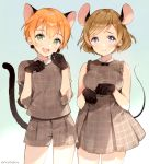 2girls :3 :d anco_(melon85) animal_ears artist_name black_gloves blue_background brown_hair cat_tail cowboy_shot dress gloves green_eyes hoshizora_rin koizumi_hanayo looking_at_viewer love_live! love_live!_school_idol_project mouse_ears mouse_tail multiple_girls open_mouth orange_hair paw_pose plaid plaid_dress plaid_shirt plaid_shorts pom_pom_earrings shirt short_hair shorts sleeveless sleeveless_dress smile tail violet_eyes