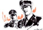 2boys character_request commentary_request daitetsujin_17 dated facial_hair greyscale hat hayama_jun'ichi male_focus monochrome multiple_boys mustache necktie police police_hat police_uniform spot_color uniform