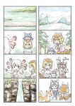 4girls animal animal_ears character_request fox giant_armadillo_(kemono_friends) grey_wolf_(kemono_friends) highres kemono_friends mexico_salamander_(kemono_friends) multiple_girls murakami_rei water waterfall wolf_ears younger