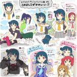 6+girls angel_costume blue_hair costume hazuki_(sutasuta) highres kunikida_hanamaru kurosawa_ruby love_live! love_live!_sunshine!! matsuura_kanan multiple_girls sakurauchi_riko school_uniform serafuku translation_request tsushima_yoshiko tsushima_yoshiko's_mother uranohoshi_school_uniform violet_eyes