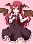 1girl black_skirt black_vest blush breasts commentary_request demon_wings eyebrows_visible_through_hair feet_out_of_frame hair_between_eyes hands_up head_wings highres juliet_sleeves koakuma large_breasts long_hair long_sleeves looking_at_viewer necktie petticoat pink_background puffy_sleeves red_eyes red_neckwear redhead ruu_(tksymkw) shirt sidelocks simple_background skirt smile solo standing touhou vest white_shirt wing_collar wings