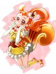 1girl animal_ears arisugawa_himari bow cake_hair_ornament choker cure_custard dress earrings elbow_gloves extra_ears food_themed_hair_ornament full_body gloves hair_ornament hairband highres hyuu_(sing-dog) jewelry jumping kirakira_precure_a_la_mode kneehighs long_hair looking_at_viewer magical_girl orange_bow orange_eyes orange_footwear orange_hair pink_background ponytail precure red_neckwear shoes simple_background smile solo squirrel_ears squirrel_tail tail white_gloves yellow_dress yellow_legwear