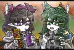 ... 2girls bendy_straw black_hair black_neckwear blush_stickers commentary detached_sleeves drinking_straw eyebrows_visible_through_hair green_eyes green_hair green_nails hair_between_eyes hair_ornament hair_tubes hat heart himekaidou_hatate juliet_sleeves kochiya_sanae line_shading long_hair long_sleeves multiple_girls nail_polish phone pointy_ears puffy_sleeves purple_hat purple_nails sidelocks snake_hair_ornament spoken_ellipsis suenari_(peace) tokin_hat touhou twintails violet_eyes white_skin