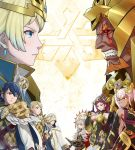 alfonse_(fire_emblem) clenched_teeth face-to-face fire_emblem fire_emblem_heroes fjorm_(fire_emblem_heroes) highres laevateinn_(fire_emblem_heroes) loki_(fire_emblem_heroes) long_hair multiple_boys multiple_girls official_art sharena short_hair summoner_(fire_emblem_heroes) teeth veronica_(fire_emblem)