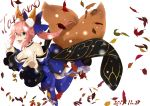 1girl absurdres animal_ears autumn_leaves bare_shoulders blue_legwear breasts character_name cleavage dated detached_sleeves fang fate/extra fate/extra_ccc fate/grand_order fate_(series) fox_ears fox_shadow_puppet fox_tail gu-mu highres jumping large_breasts leaf looking_at_viewer multiple_tails open_mouth pink_hair simple_background solo tail tamamo_(fate)_(all) tamamo_no_mae_(fate) white_background yellow_eyes