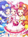 3girls :d animal_ears arisugawa_himari blue_gloves blue_hair blue_neckwear blue_shirt blue_skirt bow brown_hair cake_hair_ornament choker cowboy_shot crown cure_custard cure_gelato cure_whip dress earrings elbow_gloves extra_ears food_themed_hair_ornament fuubuu gloves hair_ornament hairband highres jewelry kirakira_precure_a_la_mode kneehighs lion_ears lion_tail long_hair looking_at_viewer magical_girl mini_crown multiple_girls open_mouth orange_footwear pink_bow pink_eyes pink_hair pink_neckwear ponytail precure rabbit_ears red_eyes red_neckwear shirt shoes short_hair simple_background skirt smile squirrel_ears squirrel_tail standing standing_on_one_leg tail tategami_aoi twintails usami_ichika white_background white_dress white_gloves yellow_dress yellow_legwear
